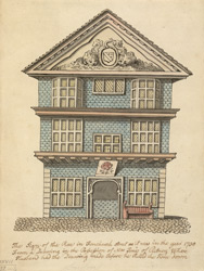 The Sign of the Rose alehouse in Fenchurch Street as it was in the year 1730